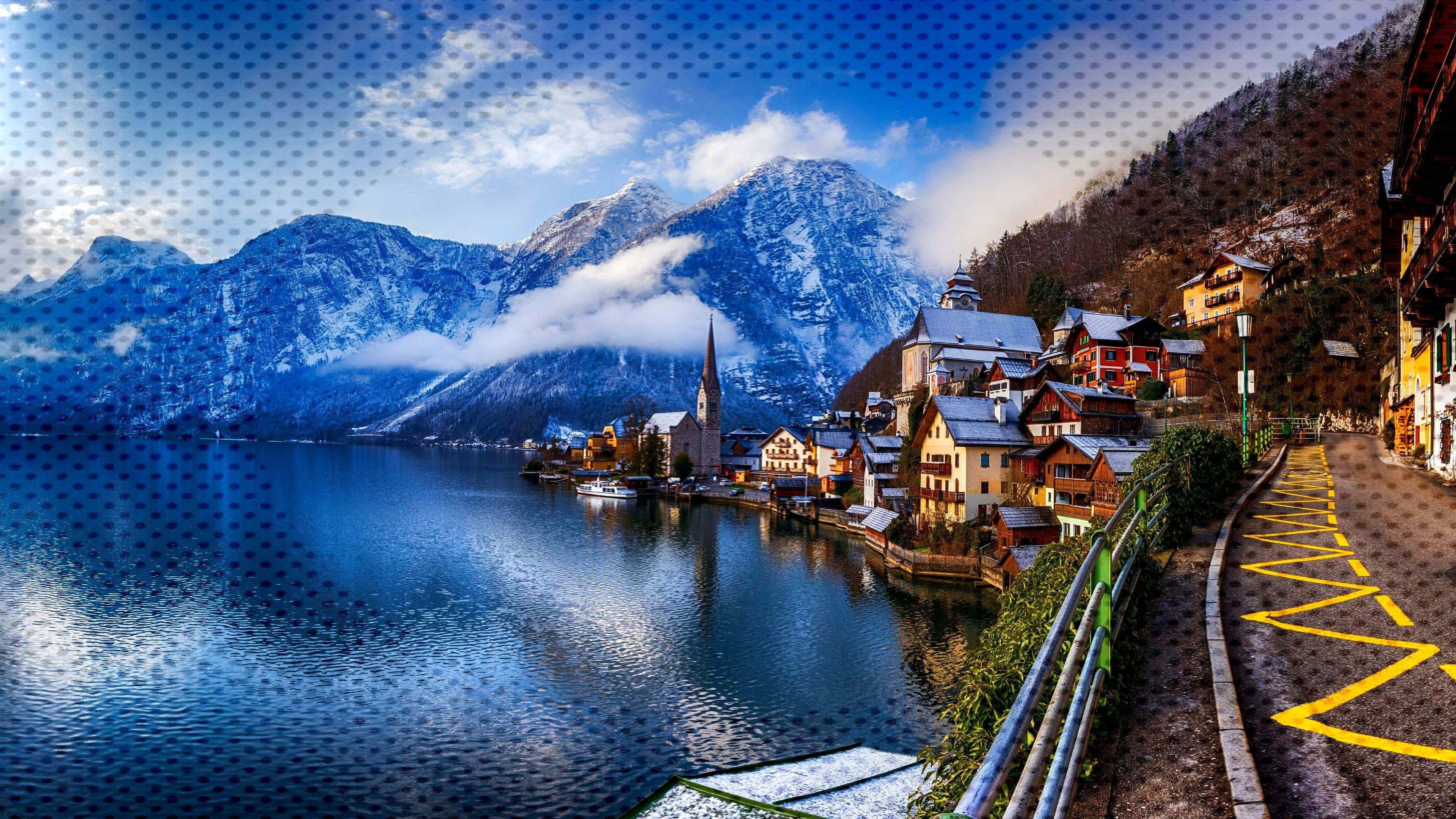mountain range mountain village lake hallstatt hallstatter see