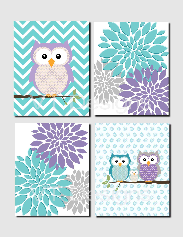 Purple Teal Gray Wall Art Baby Girl Nursery Decor Peonies Owl Wall Art Toddler Girls Room Dec Purple Nursery Girl Nursery Decor Girl Baby Girl Nursery Teal