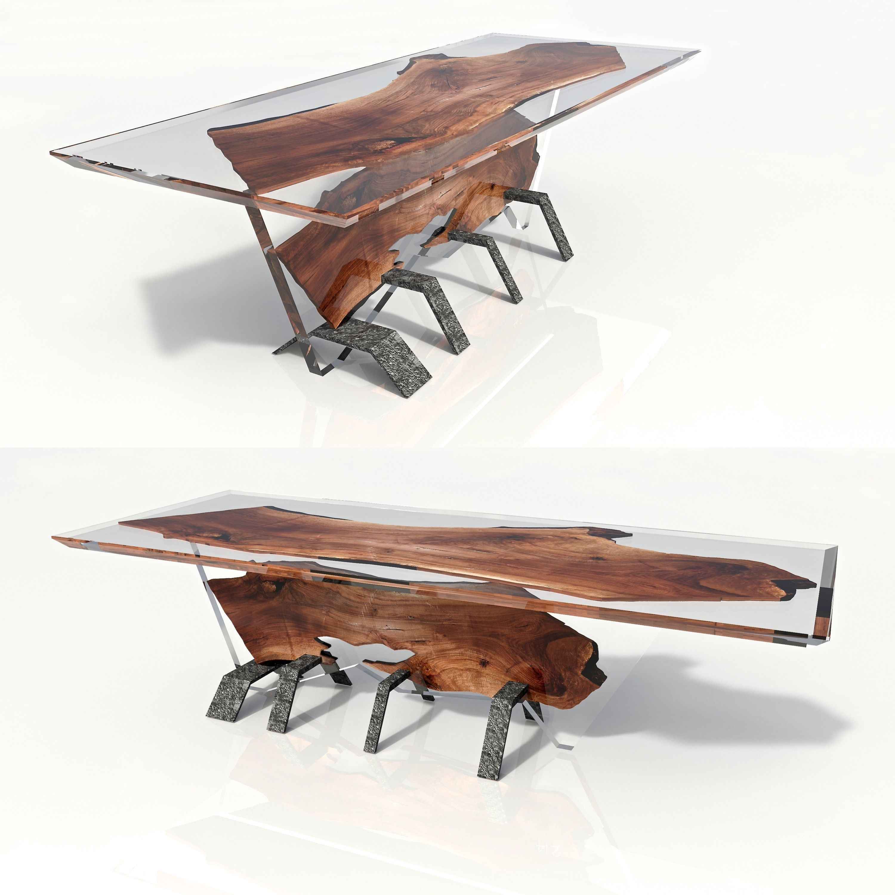 Reclaimed teak wood cracked resin side tables youtube - Resin Table Made By Riverwood Eu Consoles Bog Oak 800 6500 Years Old For