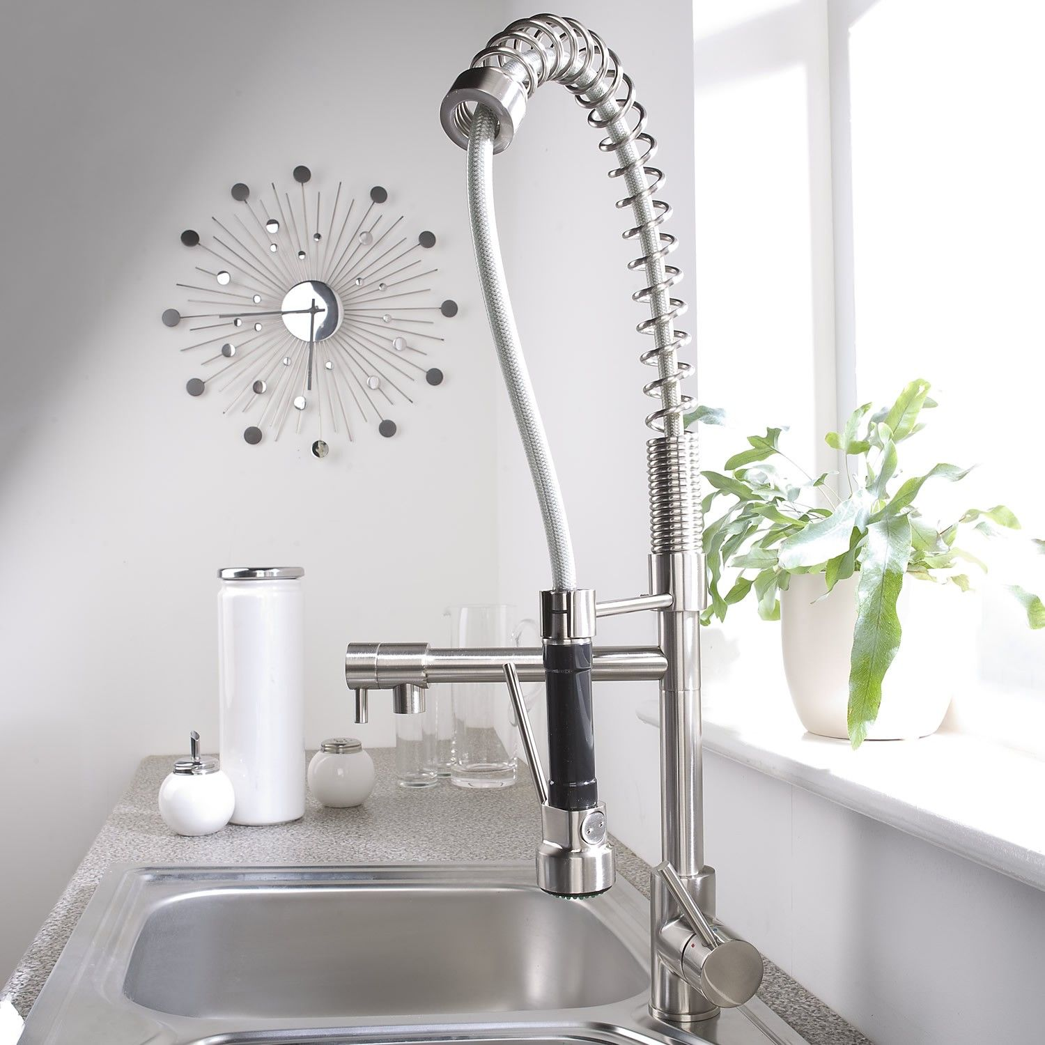 Kitchen Chrome Kitchen Faucet With Spray And Decorative Wall Clock