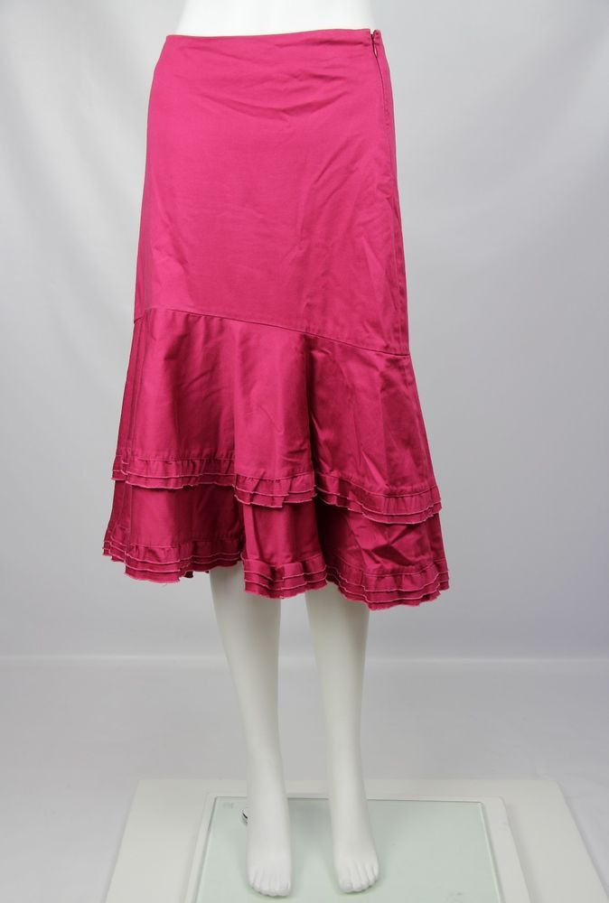Odille Anthropologie Womens Fuchsia Pink Cotton Lagenlook Tiered Ruffle Skirt 8 #Odille #Tiered