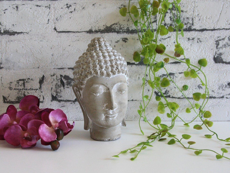 buddha kopf klein steingrau dekorativer und detailgetreuer kleiner buddha kopf aus zement. Black Bedroom Furniture Sets. Home Design Ideas