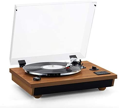 Rcm Wireless 3 Speed Turntable With Stereo Speakers Natural Wood Vinyl Record Player Belt Drive Vinyl To Mp3 Recording In 2020 Stereo Speakers Wood Vinyl Turntable