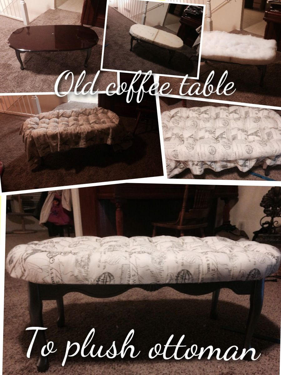 Old Scratched And Dented Coffee Table Turned Into A Plush Tufted Ottoman Re Purposed Furn Coffee Table Makeover Diy Pallet Furniture Ottoman Coffee Table [ 1200 x 899 Pixel ]