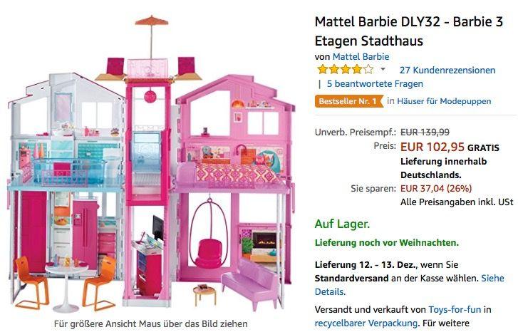 Mattel Barbie Dly32 Barbie 3 Etagen Stadthaus Jetzt 16 Billiger Mattel Barbie Stadthaus Barbie