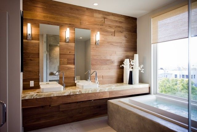 Laminate Flooring On Walls For A Warm And Luxurious Feel Of The Interior Laminate Flooring On Walls Flooring On Walls Floating Shelves Bathroom