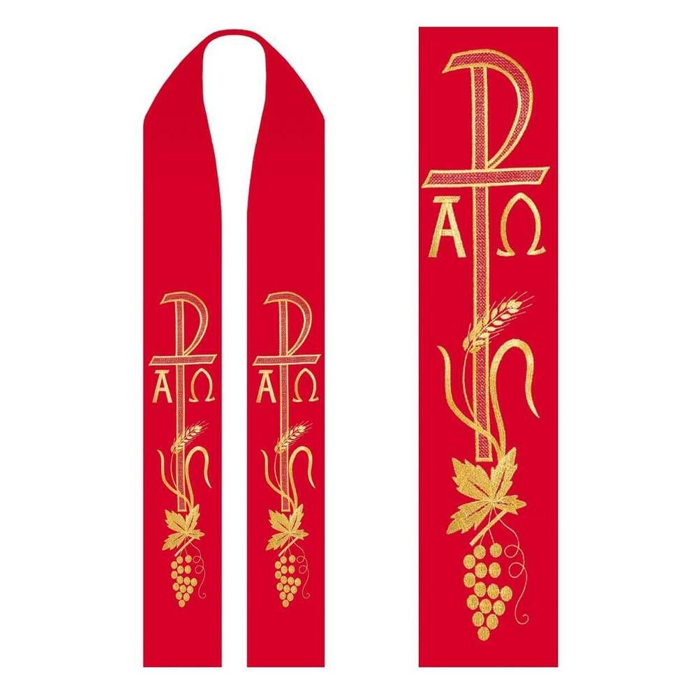 Product Description Priest Stole In Red Wool Fabric 20 25 Wool 80 25 Polyester Embroidered Px Alpha Omega Design Estola Sacerdotal Igreja Cristo