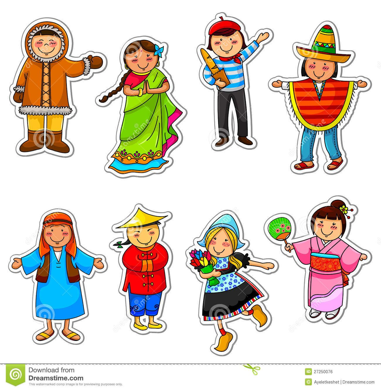 Traditional National Costumes Cartoons