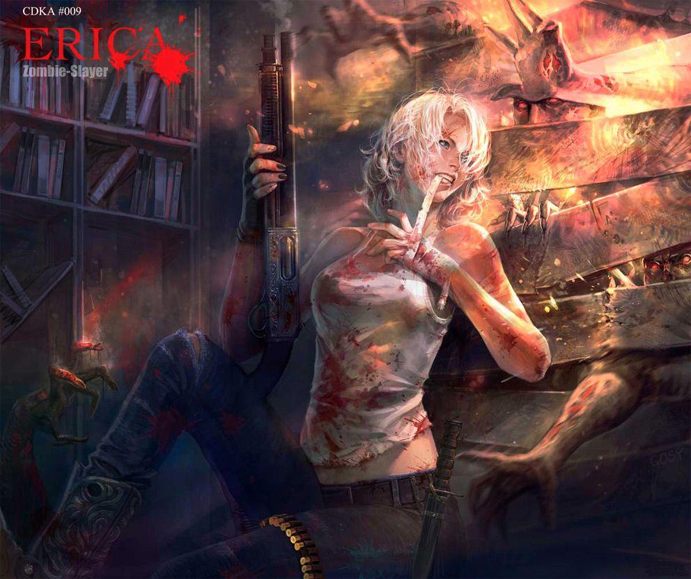 2d Art: Erica  Zombie Slayer  2d Digital, Concept Art, Sci