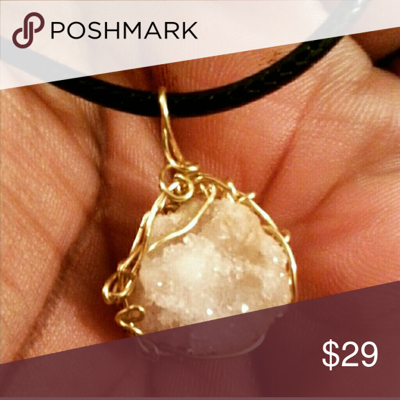 Moroccan Geodes clear Quartz Simple wire wrapped pendant,handmade jewelry