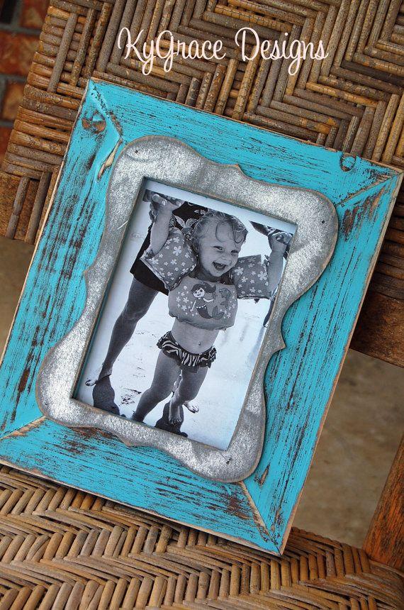 Handmade 5x7 Distressed frame with trim  Wedding by kygracedesigns, $42.00