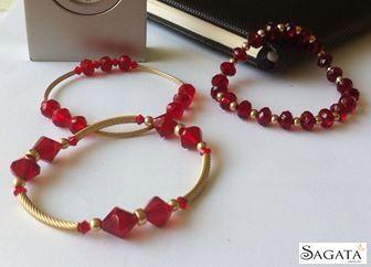 b4275df89039 Pulseras rojas cristal tipo swarowsky y oro. Sagata Joyería | Sagata ...
