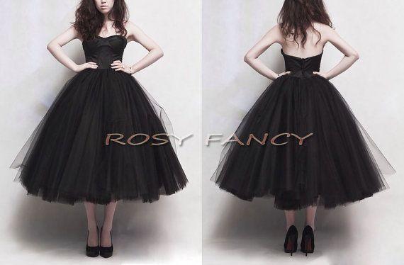 9640e30d84e Retro Black Multi-layer Puffy Skirt Tea Length Prom Dress