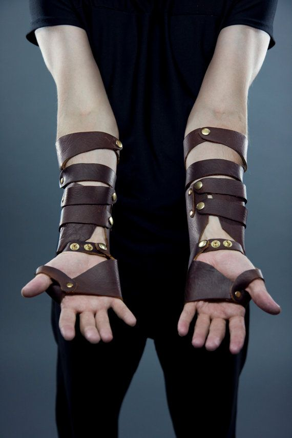 Men's Mage Bracers in Brown and Gold by RaggedEdgeLeather on Etsy, $120.00