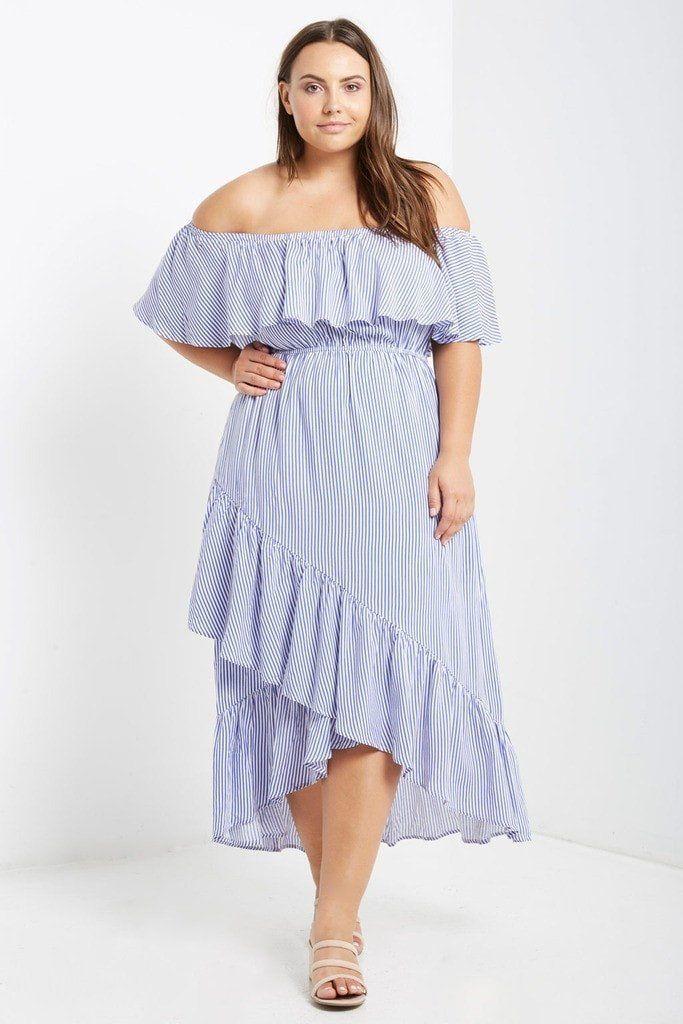 cc648a854fc0 Nellie Striped Off the Shoulder Maxi Dress Plus Size | Poshsquare ...