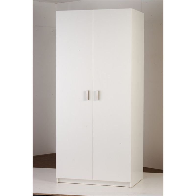 Bedford White 2 Door Wardrobe 900mm 2 Door Wardrobe Simple Storage Adjustable Shelving