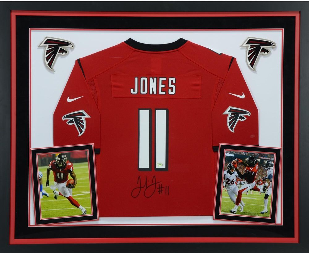 Julio Jones Atlanta Falcons Deluxe Framed Autographed Nike Red Game Jersey Sportsmemorabilia Autograph Footb Reds Game Atlanta Falcons College Football Fans