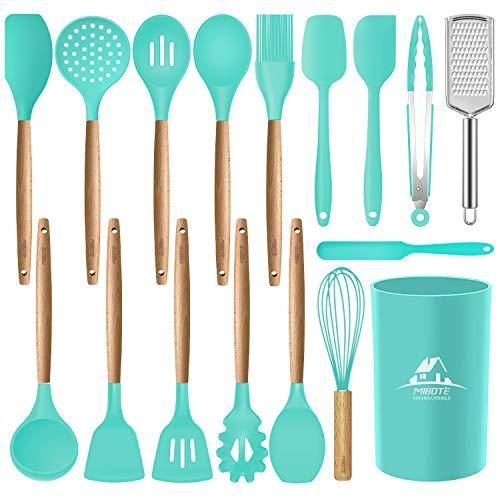 Mibote 17 Pcs Silicone Cooking Kitchen Utensils Set with Holder, Wooden Handles Cooking Tool BPA Free Non Toxic Turner Tongs Spatula Spoon Kitchen Gadgets Set for Nonstick Cookware (Green) - 2-Teal