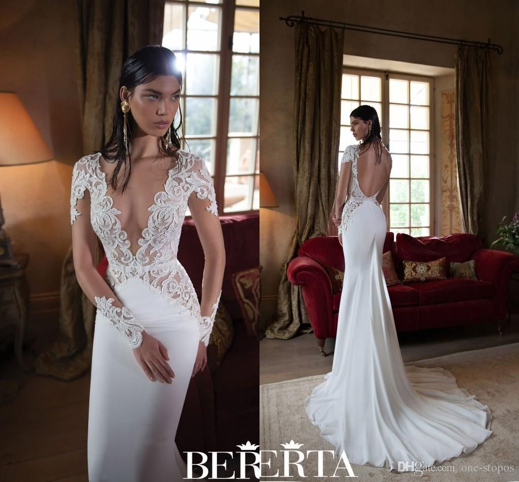 2016 berta wedding dresses lace sexy plunging v neck long for Plunge neck wedding dress