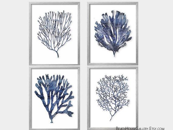 Indigo Coral Prints Blue And White Hamptons Style Wall Art