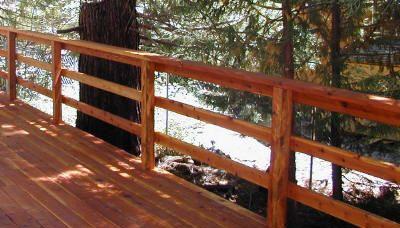 Rustic Triple Horizontal Board Handrail porch railings