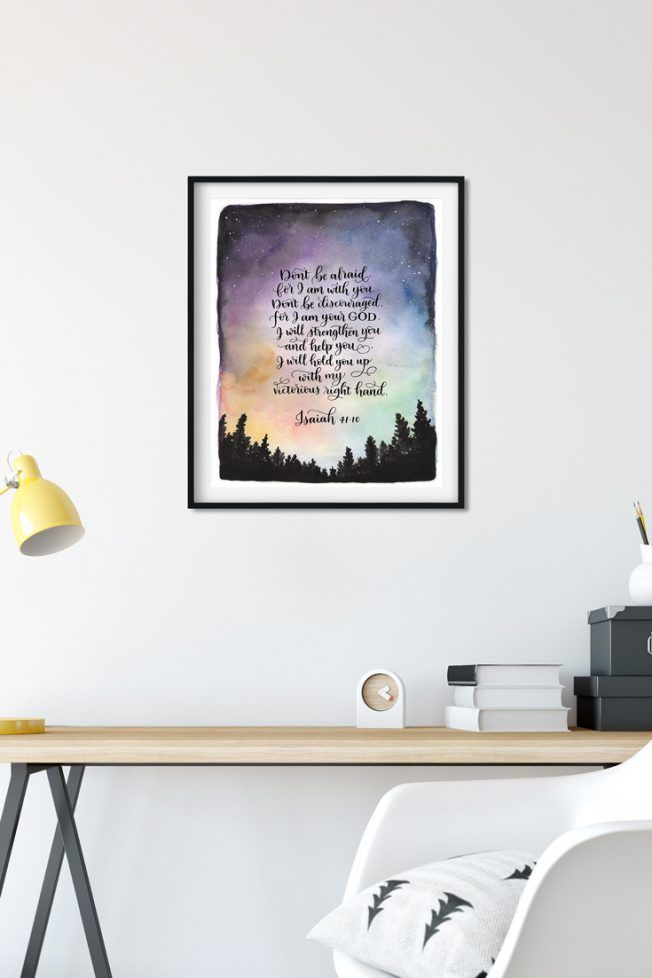 Watercolor And Calligraphy Wall Art Isaiah 41 10 By Purple Martin Lettering