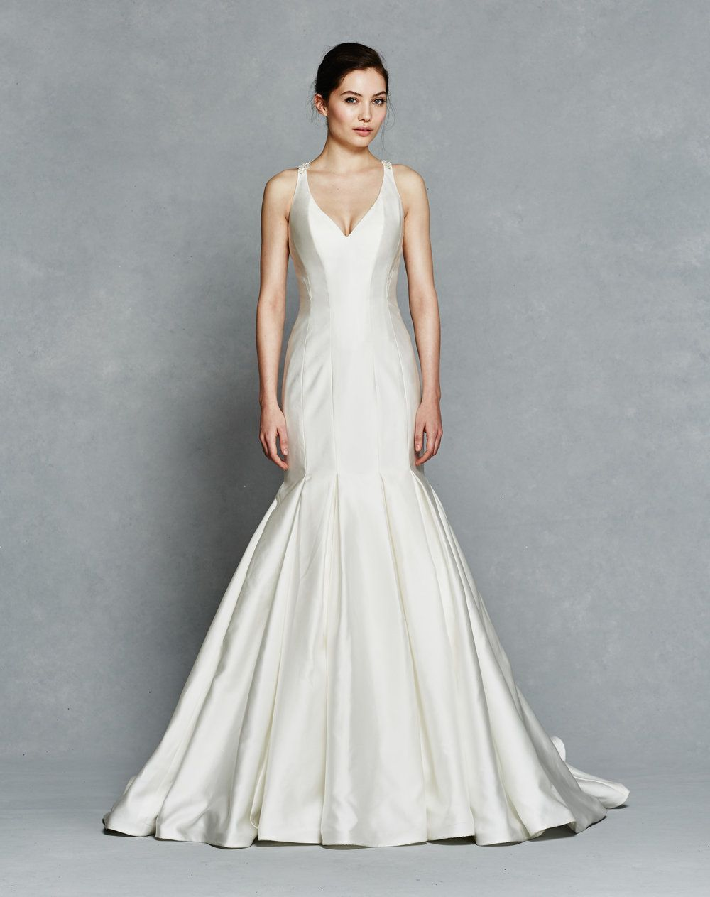 Used wedding dresses in michigan  Silk Mikado Vneck fit to flare with vertical seamed bodice and
