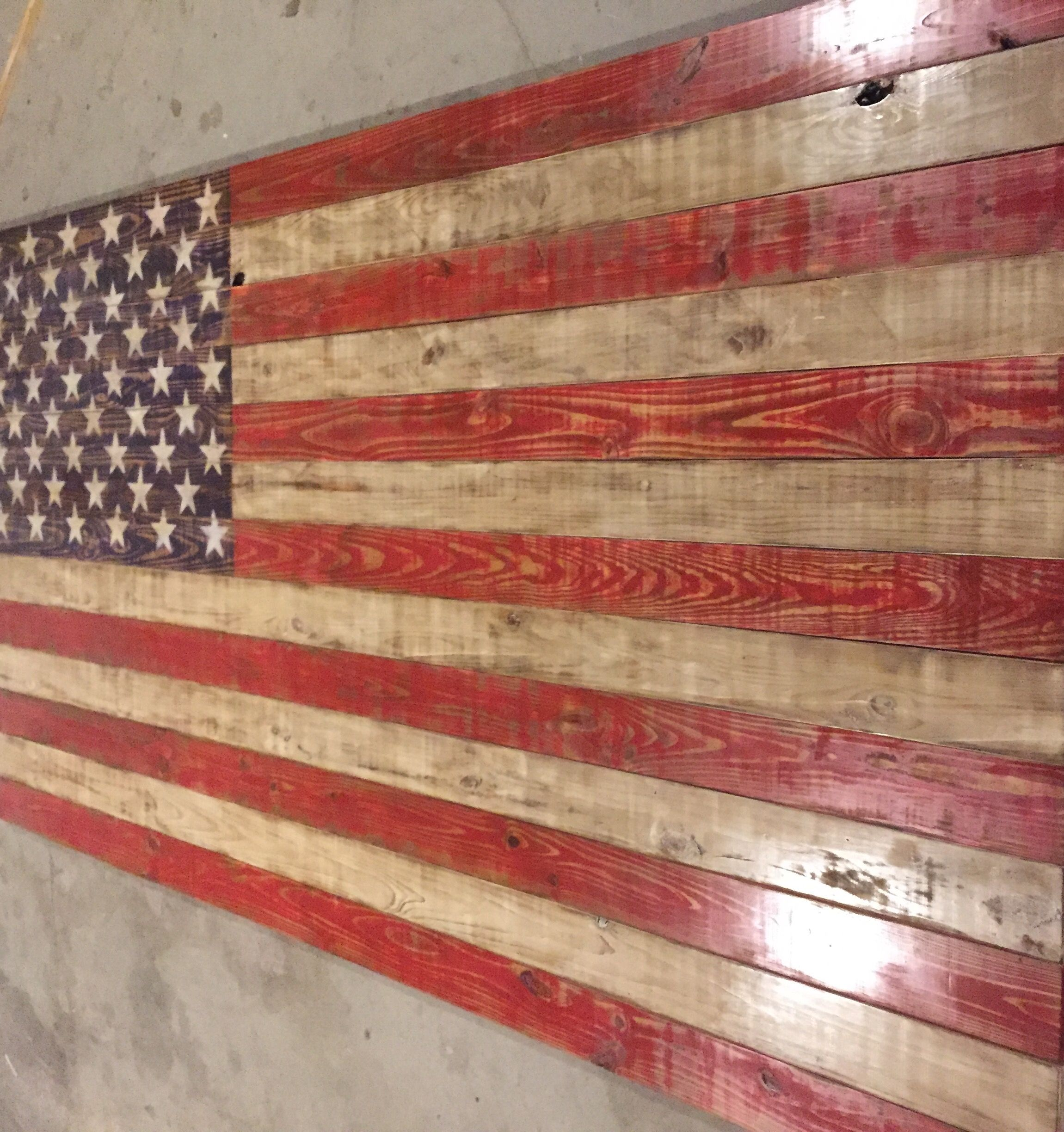 Extra Large American Flag Approximately 5 Tall x 9 Wide Painted