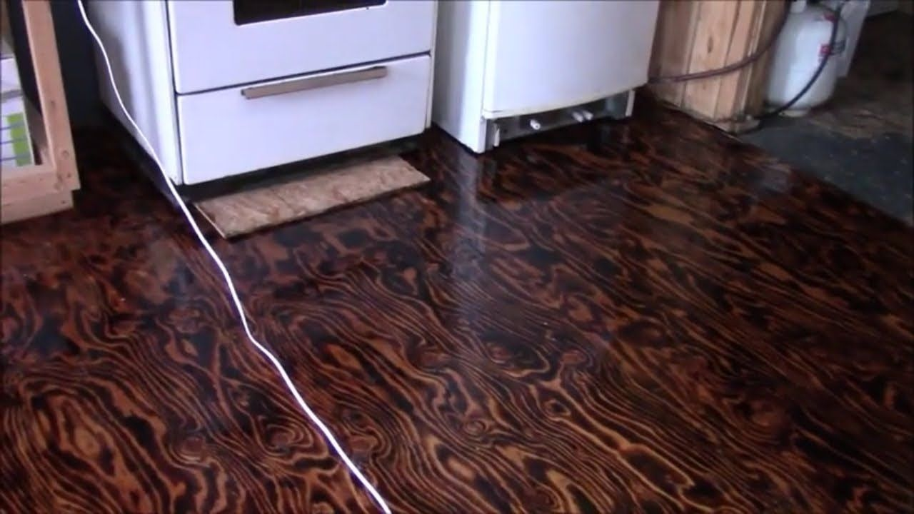 One Coat Of Polyurethane On Our Burned Plywood Floor