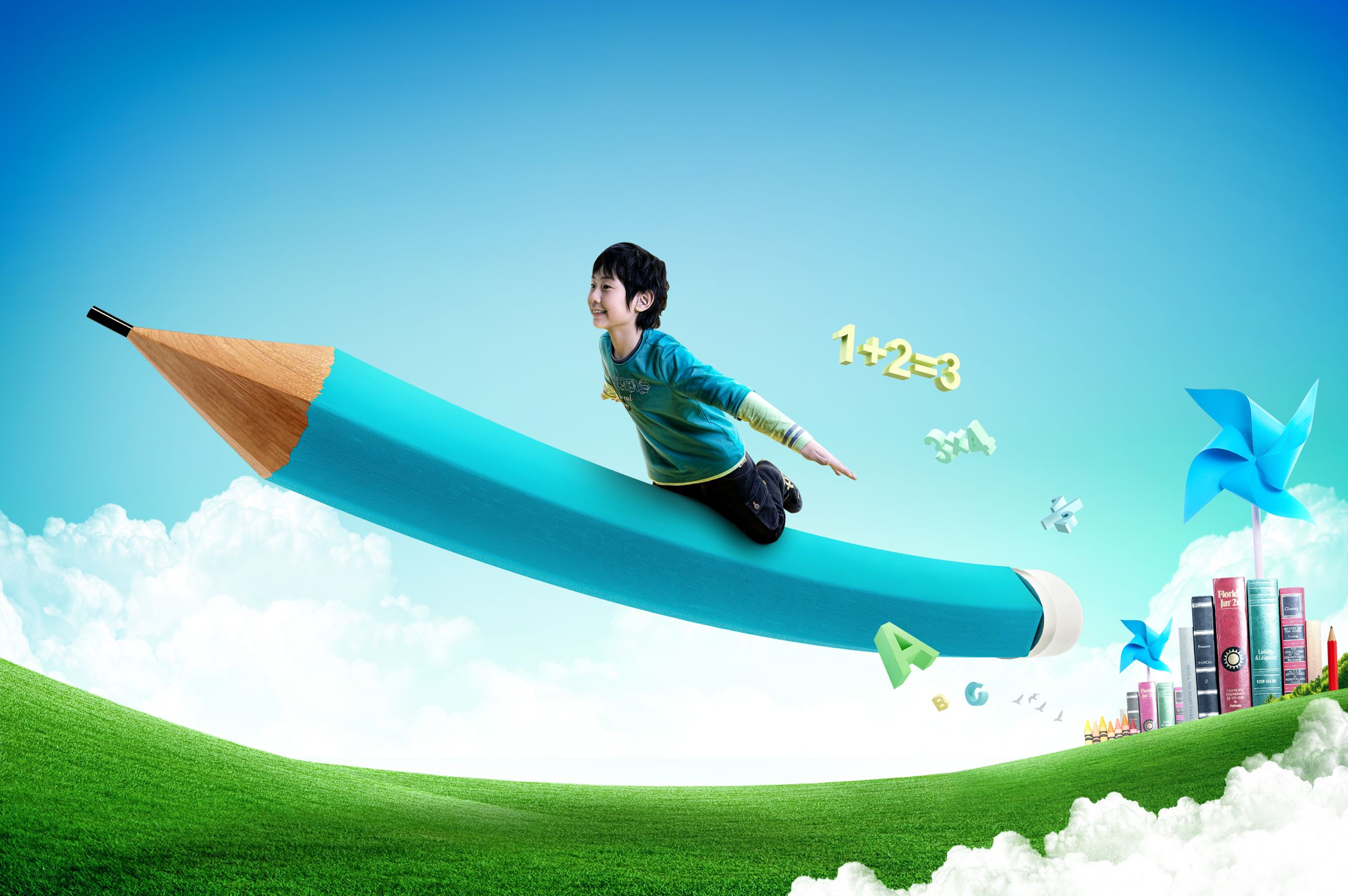 Boy rides a flying pencil online training business