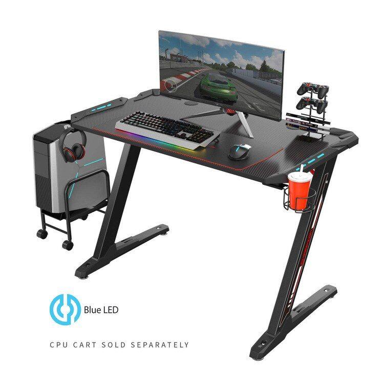 Z1-S Gaming Desk with LED Lights, Controller Stand, Cup Holder & Headphone Hook - Black #gamingdesk