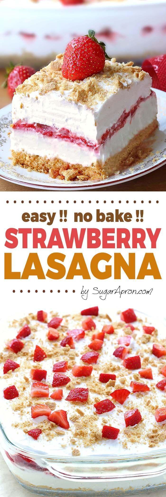 No Bake Strawberry Cheesecake Lasagna -   12 desserts Strawberry stevia ideas