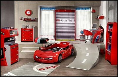 Car Themed Boys Room With Cars On The Wall Car Racing Theme Bedrooms And Car Racing Themed Decor Cool Boys Room Boy Bedroom Design Boys Room Design