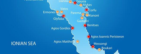 Insula Corfu De La Nord La Sud Insule Corfu Hartă