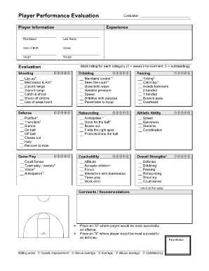 Basketball Tryout Evaluation Form | basketball | Pinterest ...