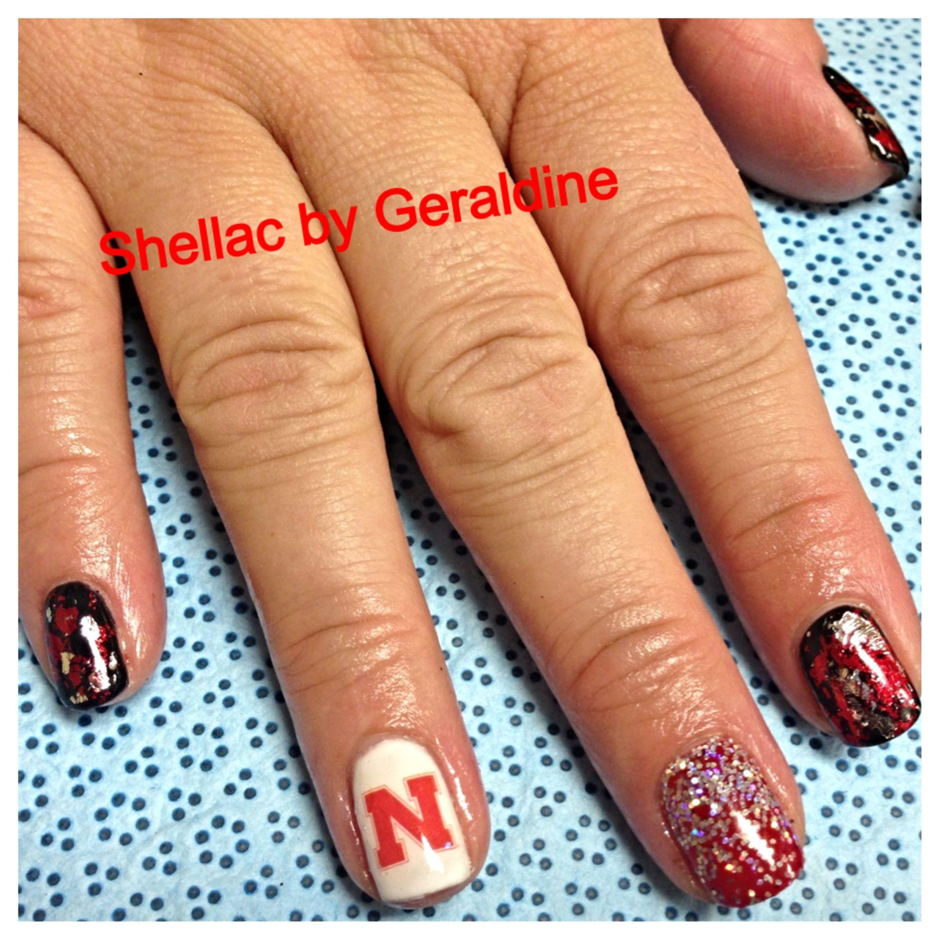 Nebraska Huskers husker nail art cornhuskers shellac gel gelish | My ...