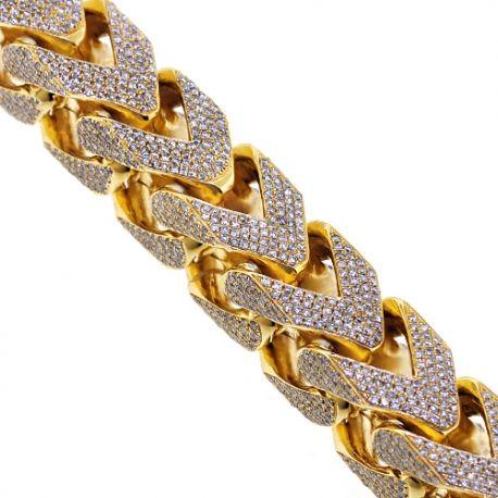 Mens Diamond Franco Bracelet 10k Yellow Gold 43 11 Ct 410 Grams With Images Mens Diamond Bracelet Mens Gold Bracelets Clean Gold Jewelry