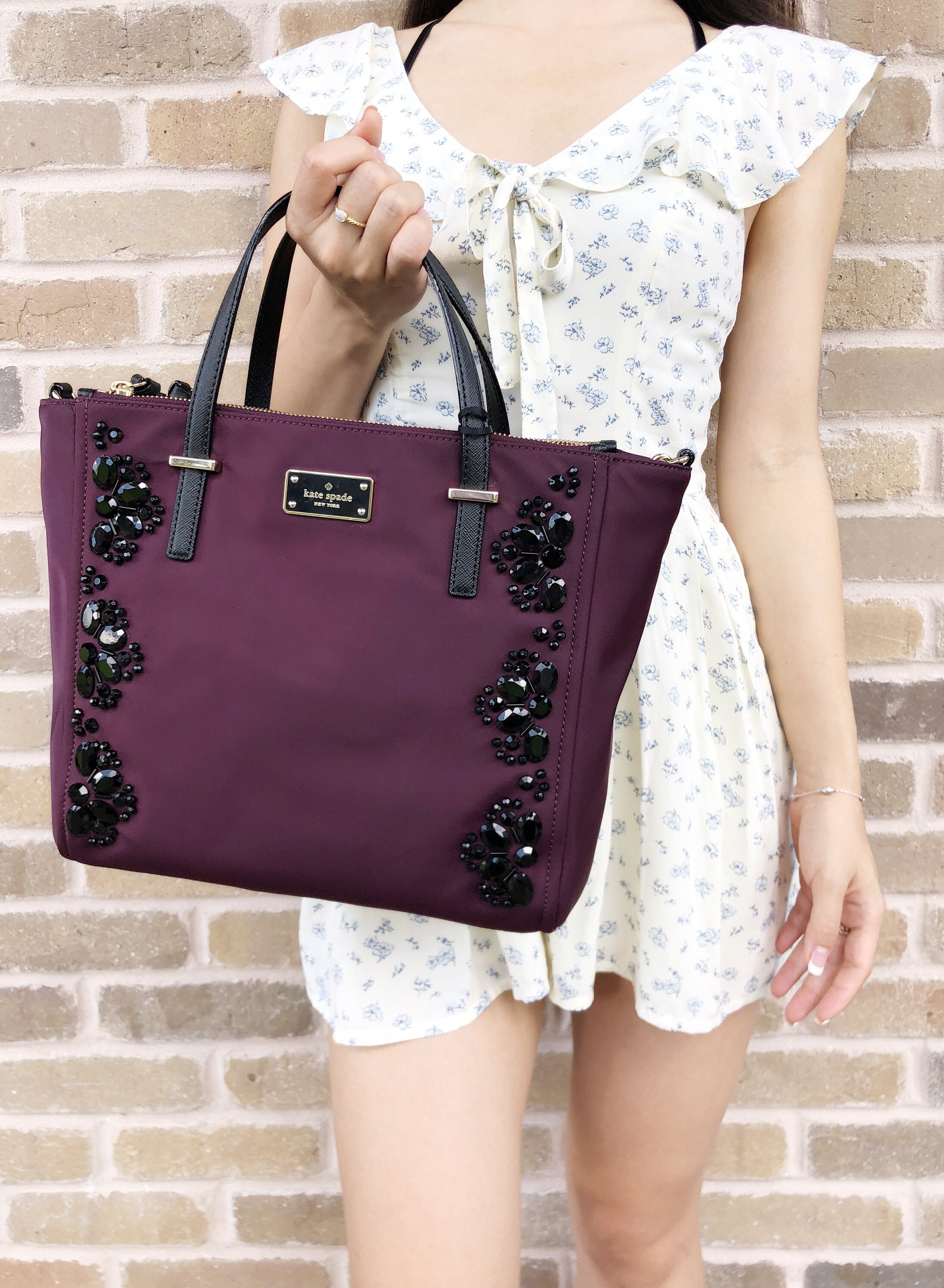 a60ada8abc1b Kate Spade Wilson Road Embellished Alyse Satchel Tote Deep Plum Black Stone  #Handbags #GabysBags
