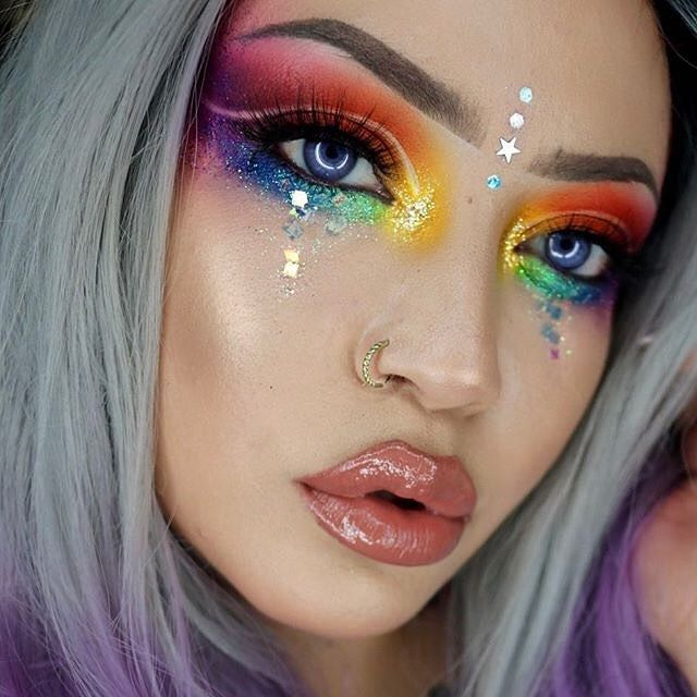 Nessartistry Is A Rainbow Brite Beauty In Sugarpill Buttercupcake Flamepoint Love And Poison Plum Shadows Pride Makeup Rainbow Makeup Rave Makeup
