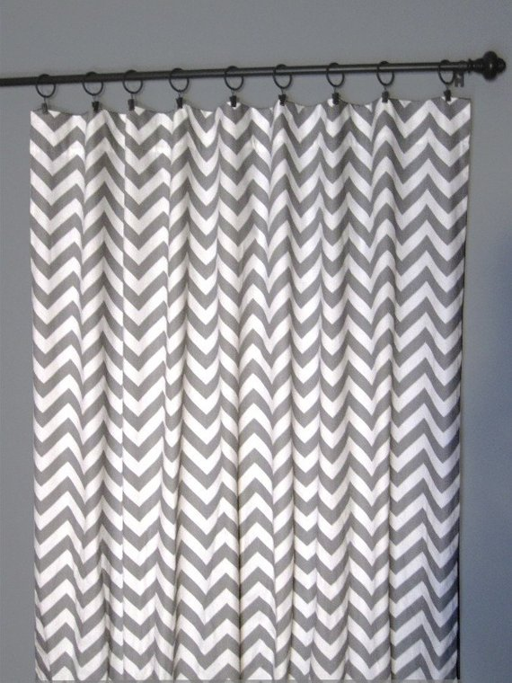 96 Grey Zig Zag Curtains Two Chevron Curtain Panels 50 X96