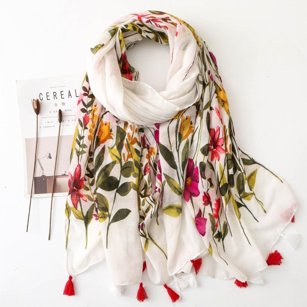Long Women Voile Large Floral Flowers Shawl Scarf Wrap