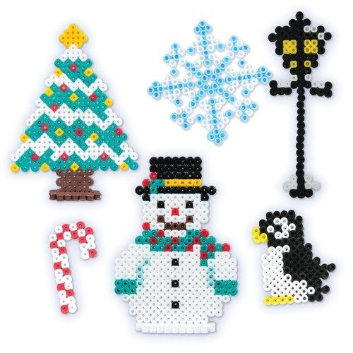 Christmas and winter ornaments perler beads Christmas tree ~25x34 ...