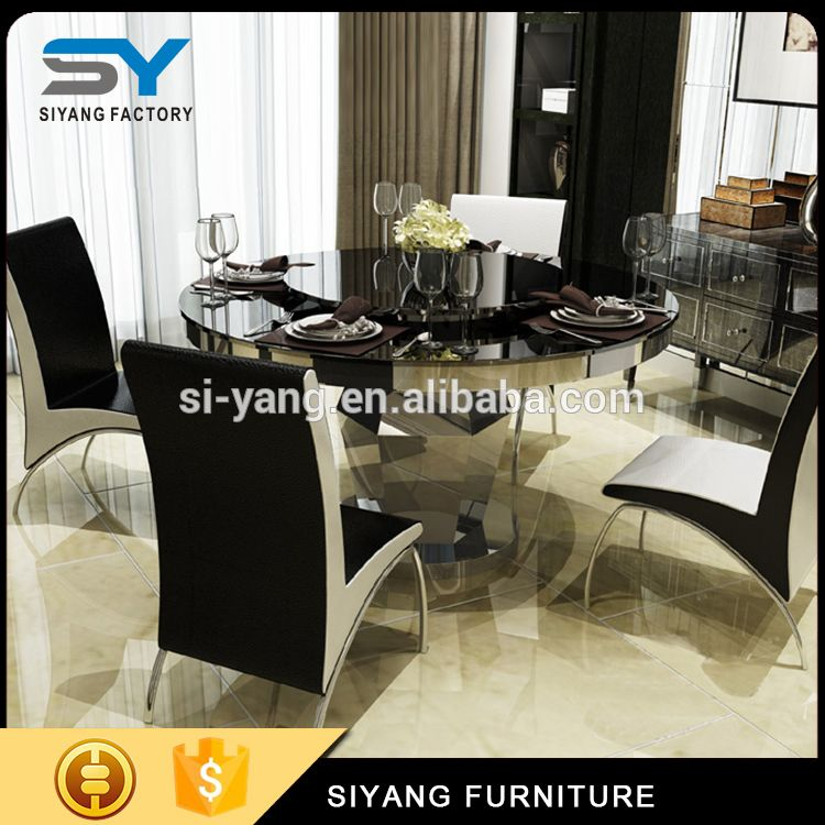Shunde Furniture Market Table Top Glass Prices Dinner Table Set 6