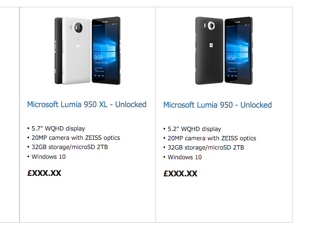 Microsoft (accidentally) reveals Lumia 950, Lumia 950 XL