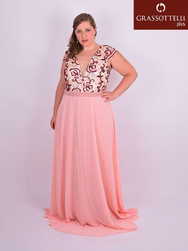 3007dfa03 Vestido Longo Festa Bordado Chiffon Rosa e Marsala Plus Size em 2019 ...