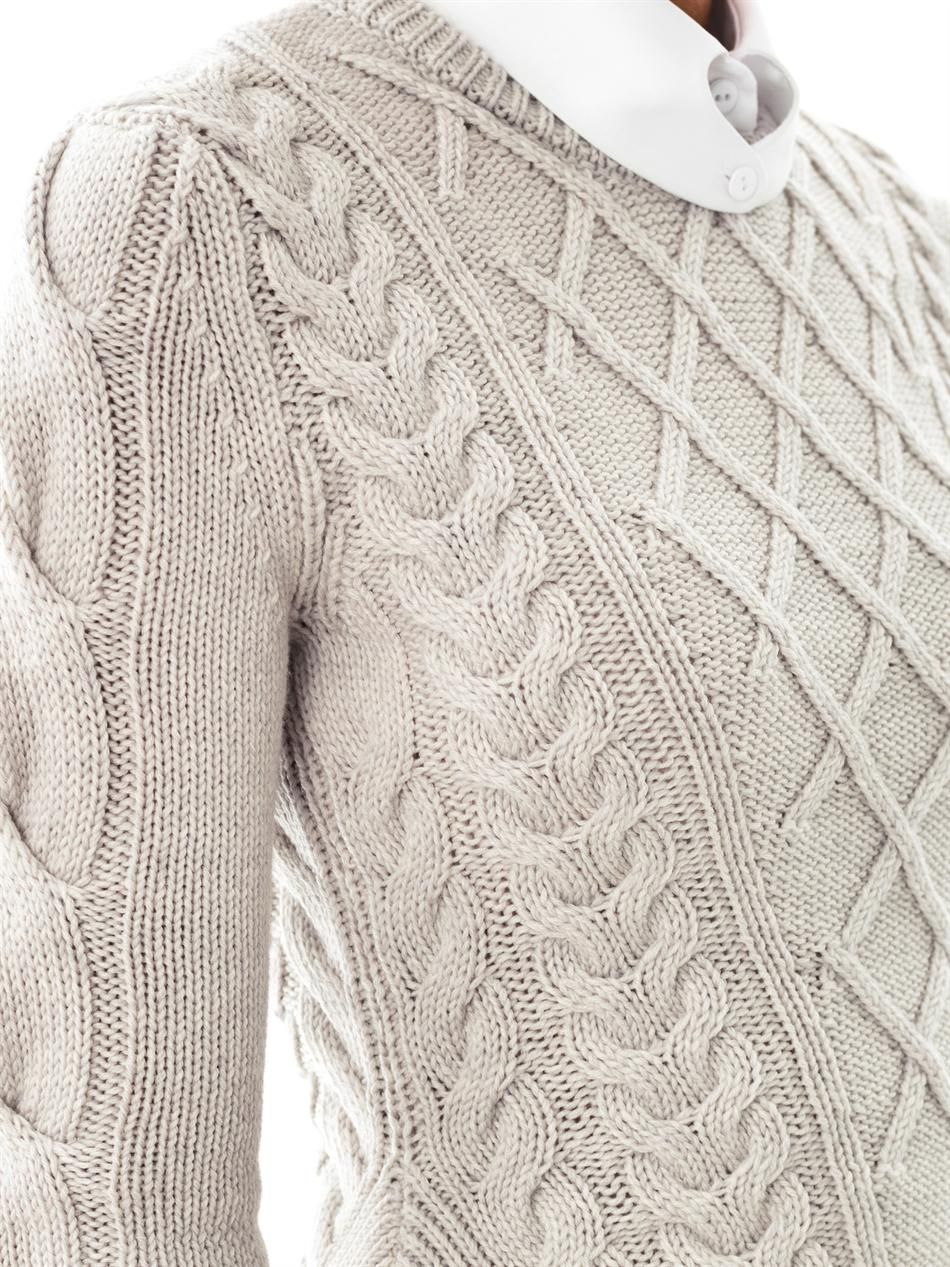 Buy Carven Women's Gray Sculpted Cable-knit Sweater, starting at ...