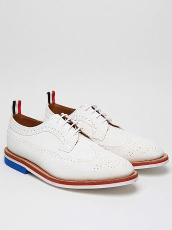 Thom Browne Men s White Wingtip Brogue with Micro Sole for spring summer  12 043ce1f1bcf