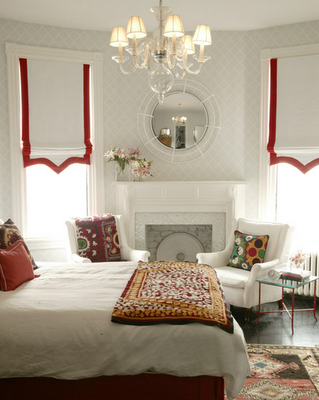 roman shades. solid color + contrast banding is a high impact