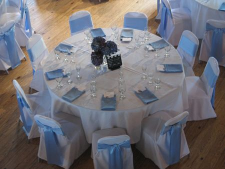 Exceptional Wedding Chair Covers $1 White Covers, Baby Blue Sashes. Bellingham WA