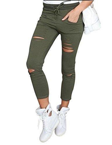 Oferta: 11.79€. Comprar Ofertas de Pantalones Mujer Vaqueros Agujeros Talle Alto Flacos Rasgados Con Las Rodillas Moda (Small, Verde) barato. ¡Mira las ofertas!